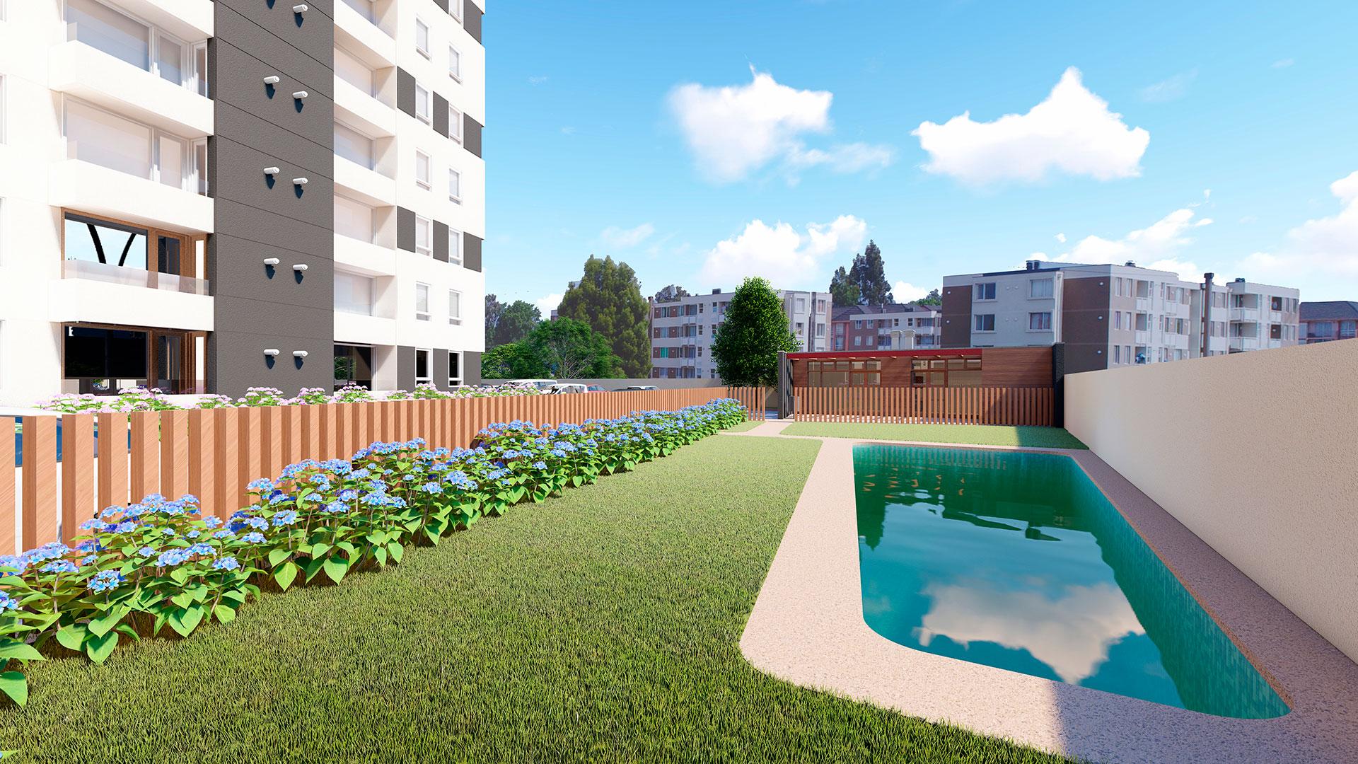 Vista Plaza Parque Los Poetas piscina