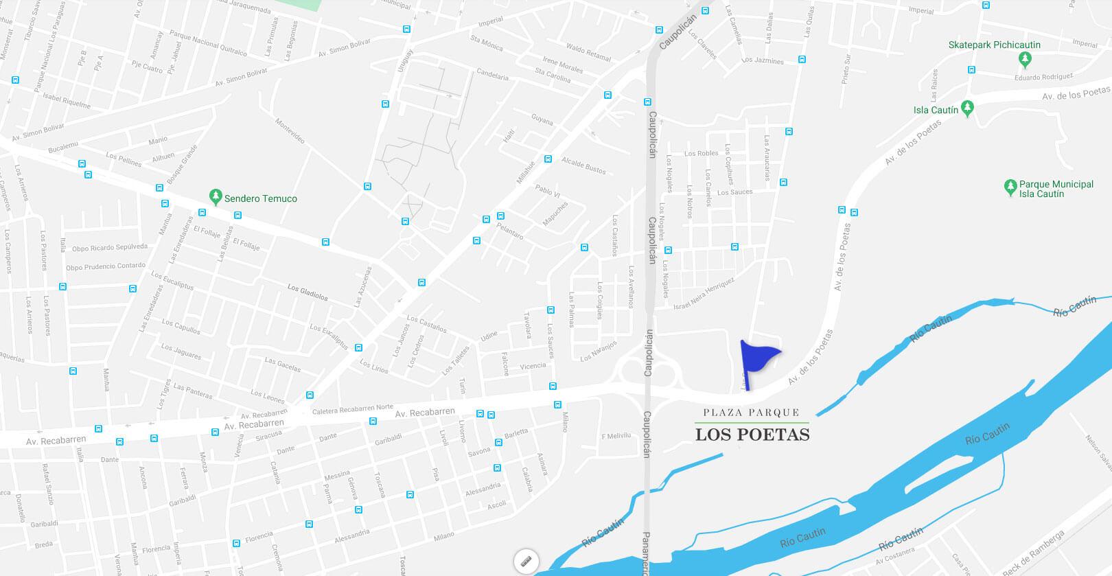 Plaza Parque los Poetas-Mapa